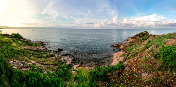 Detailed Panorama of the Burundian shoreline of Lake Tanganyika near Nyanza Lac