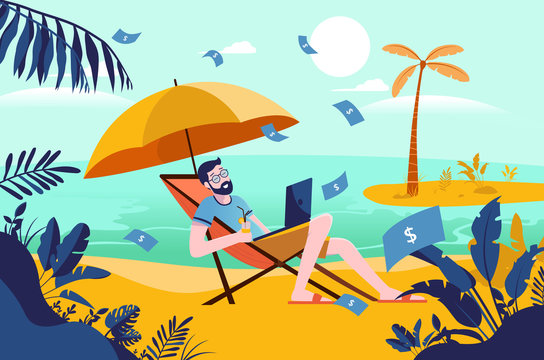 Passive income - grown man on holiday with money raining down, working on laptop, drink in hand. Enjoying vacation, financial freedom. rich. Success, cashflow.