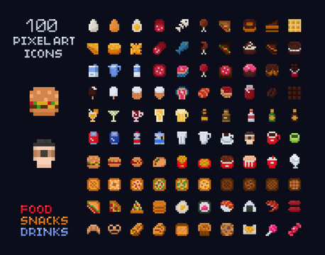 Pixel art vector game design icon video game interface set. Food items - fastfood, drinks, sweets, snacks, alcohol, bakery. Isolated retro arcade game design