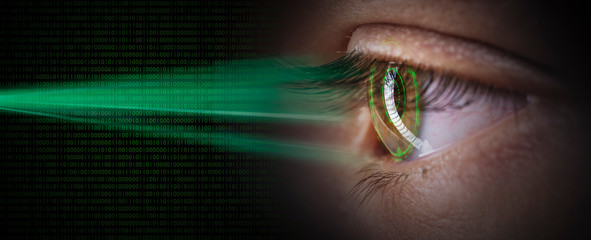 Foto op Plexiglas Iris retina digital eye scan security concept