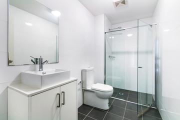 Spacious bathroom, clean, beautiful, luxurious, bright room