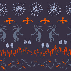 Folk, design with lizard, Kokopelli fertility deity, sun, eagle, cacti.
