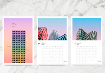Colorful Annual Calendar Layout