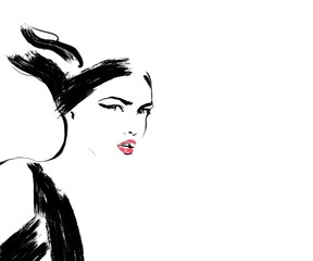 Sketch fashion.Abstract simple black and white line drawing of beautiful runway model. Haute couture, Ready to wear painting. Fashion illustration of cute girl or woman with smokey eyes.