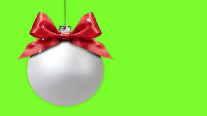 Fotomurales - merry christmas tree balls with ribbon bows change colors isolated on green screen background