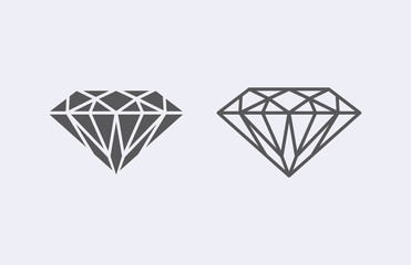 Diamond outline icon . Vector illustration