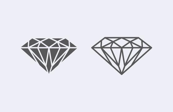 Diamond outline icon . Vector illustration