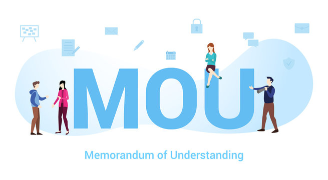 mou memorandum of understanding concept with big word or text and team people with modern flat style - vector