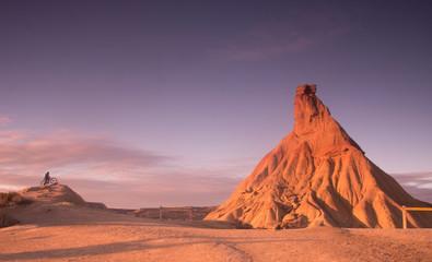 Poster Lavende Man in Mountain Bike in Bardenas Reales desert in Navarra, Spain