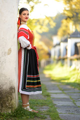 young woman in slovak folklore dress