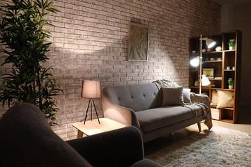 Wall Mural - Stylish interior of room at night