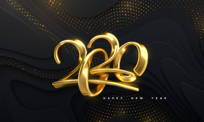 Happy New 2020 Year. Holiday vector illustration of golden calligraphic numbers 2020. Realistic 3d sign. Festive poster or banner design. Modern lettering on wavy papercut background with glitters. Papier Peint