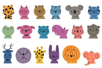Set with funny animals face. Collection of cute animal head. Doodle style. Kids vector illustration