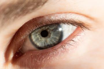 Deurstickers Iris close up of human eye with sun spot