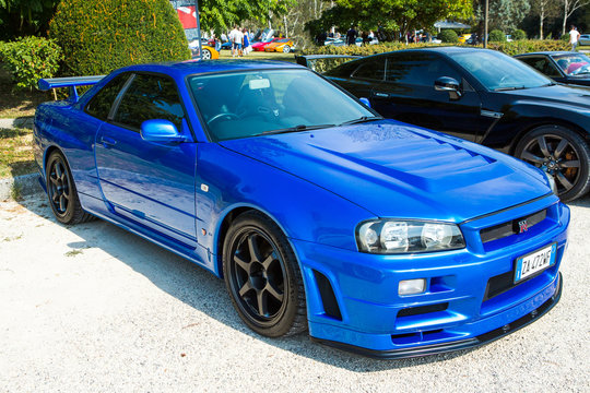 Mogliano Veneto,Italy Sept 11,2016:Photo of a Nissan Skyline GT-R R34. The Nissan GT-R is a 2-door 2+2 sports car produced by Nissan, VA·spec models were released in January 1999.