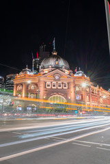 night view of flinders street melbourne