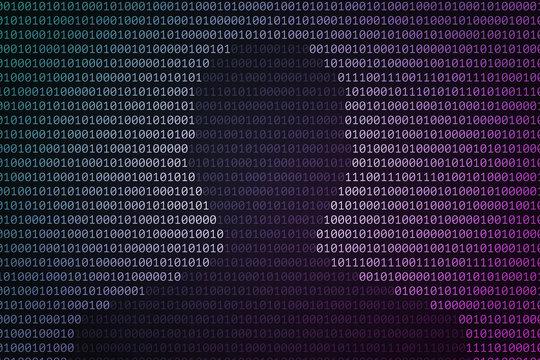 Dark silhouette of man's head over binary code