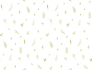 Gentle herbs and leaves seamless pattern on white background.