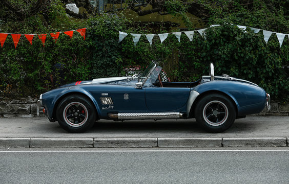 Trieste, Italy - April 2, 2017: Photo of a Shelby AC Cobra 1964 with engine 289 on the Trieste Opicina Historic. Trieste Opicina Historic is regularity run for vintage and classic Cars.