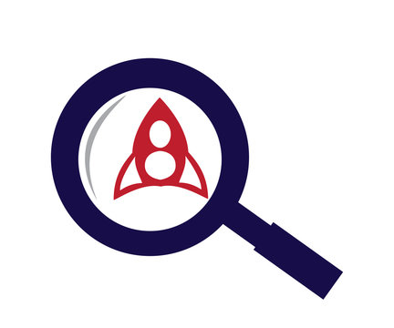 rocket and magnifying glass symbol of science
