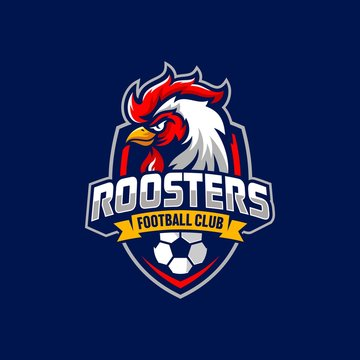 Rooster mascot sport logo design Vector illustration