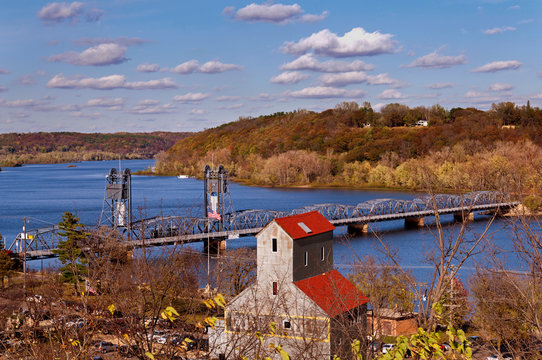The Stillwater, Minnesota Lift Bridge on the St. Croix River heading east to Wisconsin