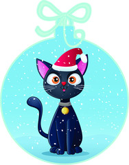 Cute Black Cat in Christmas Ball Holiday Card