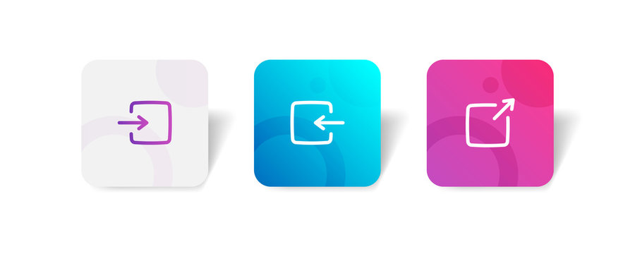 Log in / out and share button round icon in outline and solid style with colorful smooth gradient background, suitable for mobile and web UI, app button, infographic, etc