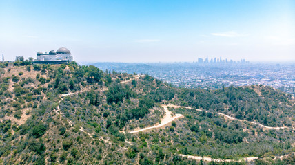Aerial view of Griffith Park Observatory and downtown Los Angeles