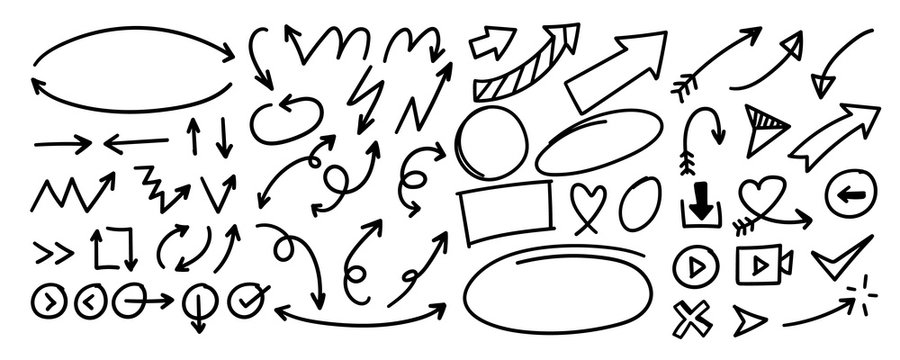 Hand drawn arrow vector set. Doodle arrows and line Sketch design on white background.