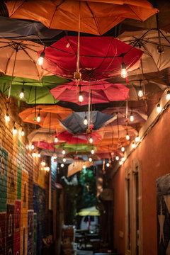 Colorful Umbrellas in Alley