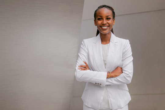 Portrait of a confident and successful african american business woman, financial investor, representative, executive, sales, corporate entrepreneur