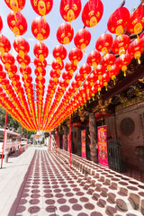 Chinese lanterns outside a temple in Telok Ayer street, SIngapore