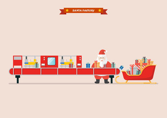 Santa sleigh waiting a gift boxes from robot belt machine