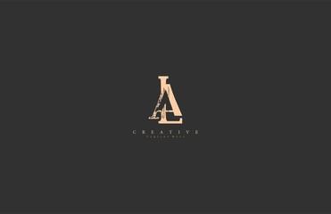 LA AL Letter Abstract Rough Distressed Monogram Logo