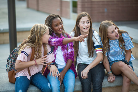 Candid photo of a group of teenage girls socializing, laughing and talking together at school. A multi-ethnic group of real junior high aged students