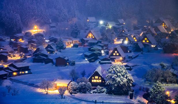Shirakawago village light up festival in winter, Gifu, Chubu, Japan