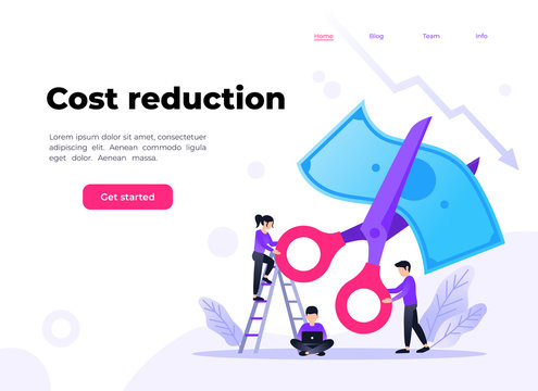 Small people with scissors cutting dollar together. Vector flat illustration of rate cut. Financial concept of cost reduction. Landing page template.