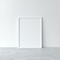 Vertical white frame mockup. Minimal white frame on concrete floor. 3d illustrations.