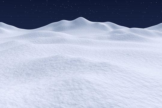 White snow hills under night sky