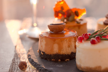 mini cheesecake is one type of salted caramel cake. Christmas orange caramel cheesecake with salted caramel mascarpone. Festive Christmas cheesecake traditional winter cake recipe