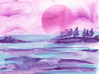 Printed kitchen splashbacks Purple Watercolor bush, a tree. pink, purple silhouette of trees against the background of sunset, sunrise. Watercolor landscape, forest. Suburban landscape at sunset.