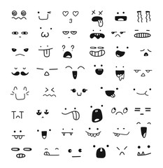 Collection of cute emoticon emoji. Doodle cartoon face, smile, happy, sad, shock, bored, sick, vomit, scream, joy, cry. Manga cartoon style. Vector file EPS10. People face cartoon vector icons