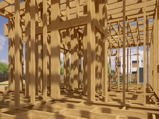 3d image of a frame building under construction. Detailed concept of construction. 3D illustration of frame house.