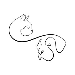 Foto auf AluDibond One Line Art Abstract, minimalistic, line art cat and dog heads figure. Hand drawn, one line, printable, wall art illustration.