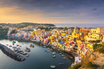 Procida island and village with colorful houses. Campania, Italy.
