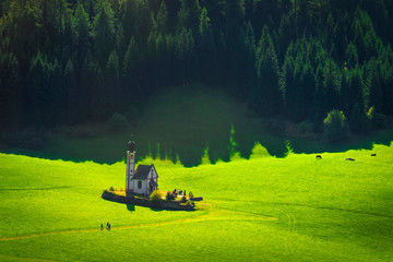 San Giovanni or St Johann in Ranui chapel, Funes Valley, Dolomites Alps, Italy.