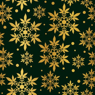 Christmas snowflakes with cannabis leaf seamless vector pattern