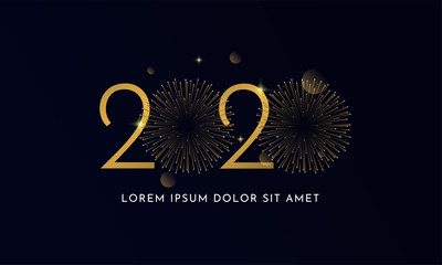 Happy new year 2020 typography text celebration poster design. glowing golden number with double gold fireworks explosion element and dark sky background vector illustration. Wall mural