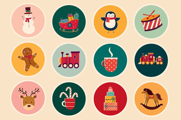 Fotomurales - Christmas decorative illustrations in vintage style